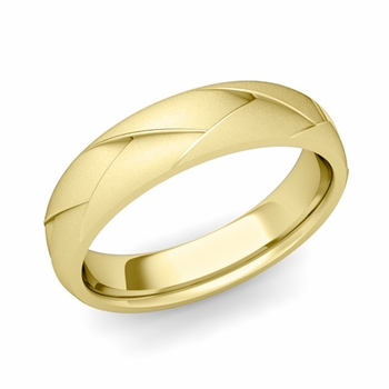 Love Folding Satin Finish Wedding Ring in 18k gold Comfort Fit Band, 5mm