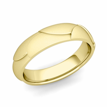 Harmony Comfort Fit Wedding Band in 18k Gold Satin Matte Finish Ring, 5mm