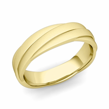 Past Present Future Wedding Band in 18k Gold Satin Matte Finish Ring, 5mm