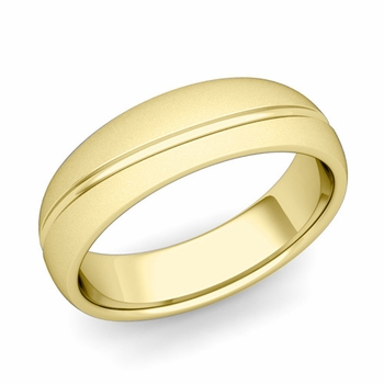 Wave Comfort Fit Wedding Band in 18k Gold Satin Matte Finish Ring, 6mm