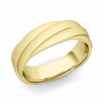 Past Present Future Wedding Band in 18k Gold Satin Matte Finish Ring, 6mm