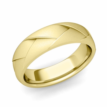 Love Folding Satin Finish Wedding Ring in 18k gold Comfort Fit Band, 6mm