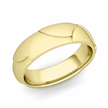 Harmony Comfort Fit Wedding Band in 18k Gold Satin Matte Finish Ring, 6mm