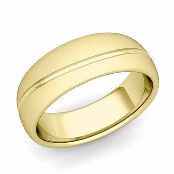 Wave Comfort Fit Wedding Band in 18k Gold Satin Matte Finish Ring, 7mm