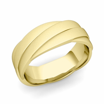 Past Present Future Wedding Band in 18k Gold Satin Matte Finish Ring, 7mm
