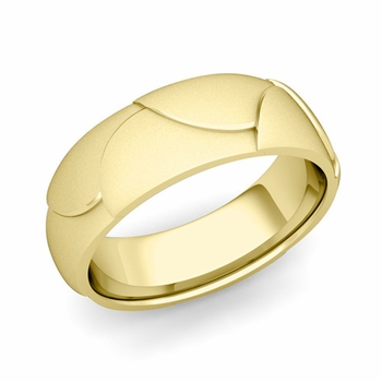 Harmony Comfort Fit Wedding Band in 18k Gold Satin Matte Finish Ring, 7mm