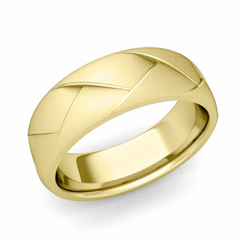 Love Folding Satin Finish Wedding Ring in 18k gold Comfort Fit Band, 7mm