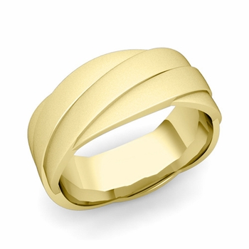 Past Present Future Wedding Band in 18k Gold Satin Matte Finish Ring, 8mm