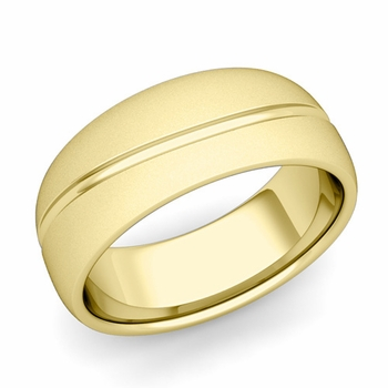 Wave Comfort Fit Wedding Band in 18k Gold Satin Matte Finish Ring, 8mm