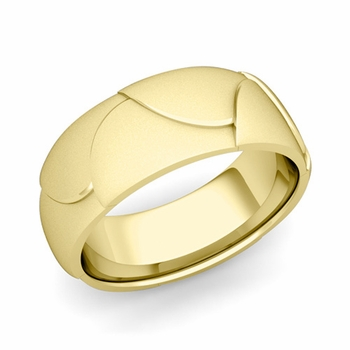 Harmony Comfort Fit Wedding Band in 18k Gold Satin Matte Finish Ring, 8mm