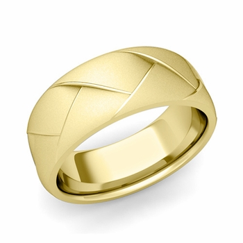 Love Folding Satin Finish Wedding Ring in 18k gold Comfort Fit Band, 8mm