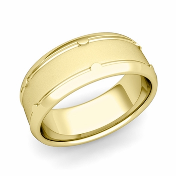 Unique Comfort Fit Wedding Band in 18k Gold Satin Matte Finish Ring, 8mm