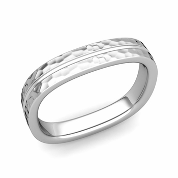 Square Wedding Ring in Platinum Hammered Finish Comfort Fit Wedding Band, 4mm
