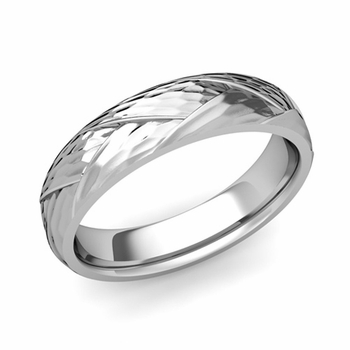 Love Folding Hammered Finish Wedding Ring in Platinum Comfort Fit Band, 5mm