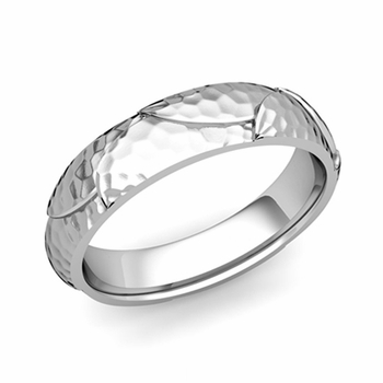 Harmony Comfort Fit Wedding Band in Platinum Hammered Finish Ring, 5mm