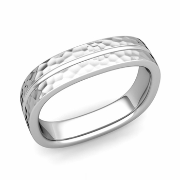 Square Wedding Ring in Platinum Hammered Finish Comfort Fit Wedding Band, 5mm