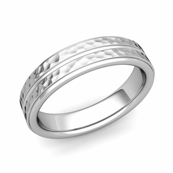 Comfort Fit Park Avenue Wedding Band in Platinum Hammered Finish Ring, 5mm