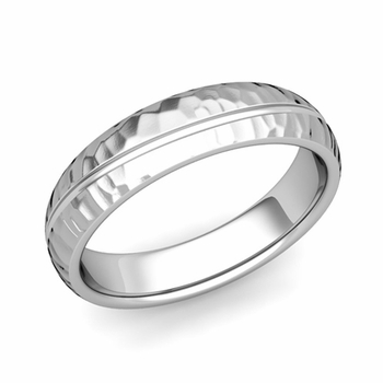 Wave Comfort Fit Wedding Band in Platinum Hammered Finish Ring, 5mm