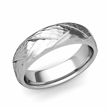 Love Folding Hammered Finish Wedding Ring in Platinum Comfort Fit Band, 6mm