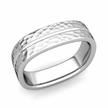 Square Wedding Ring in Platinum Hammered Finish Comfort Fit Wedding Band, 6mm