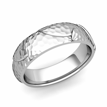 Harmony Comfort Fit Wedding Band in Platinum Hammered Finish Ring, 6mm