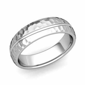 Wave Comfort Fit Wedding Band in Platinum Hammered Finish Ring, 6mm