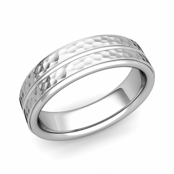 Comfort Fit Park Avenue Wedding Band in Platinum Hammered Finish Ring, 6mm