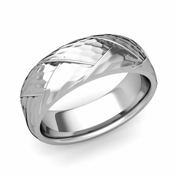 Love Folding Hammered Finish Wedding Ring in Platinum Comfort Fit Band, 7mm