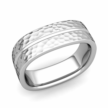 Square Wedding Ring in Platinum Hammered Finish Comfort Fit Wedding Band, 7mm