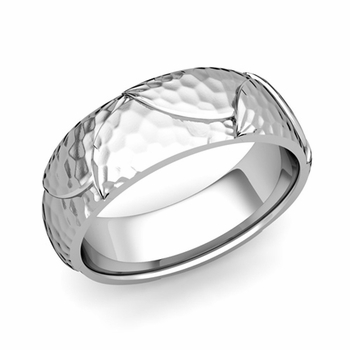 Harmony Comfort Fit Wedding Band in Platinum Hammered Finish Ring, 7mm