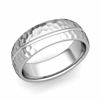 Wave Comfort Fit Wedding Band in Platinum Hammered Finish Ring, 7mm