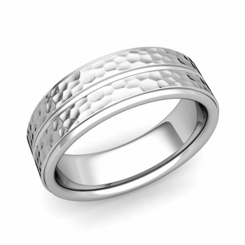 Comfort Fit Park Avenue Wedding Band in Platinum Hammered Finish Ring, 7mm