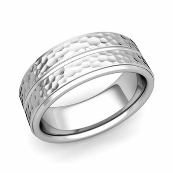 Comfort Fit Park Avenue Wedding Band in Platinum Hammered Finish Ring, 8mm
