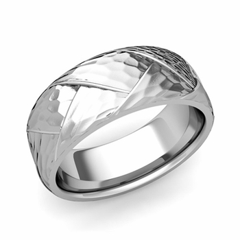 Love Folding Hammered Finish Wedding Ring in Platinum Comfort Fit Band, 8mm
