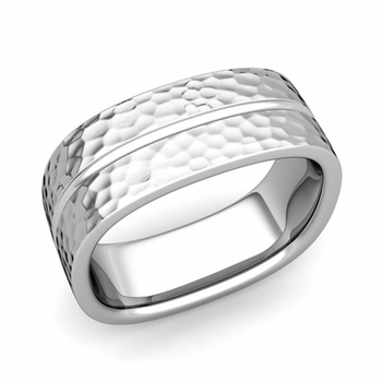 Square Wedding Ring in Platinum Hammered Finish Comfort Fit Wedding Band, 8mm