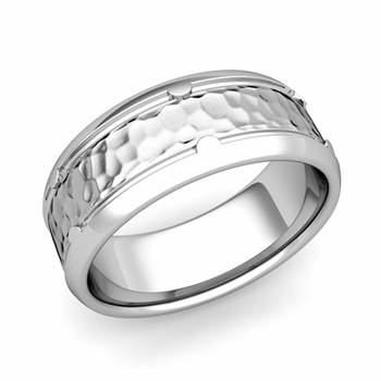 Unique Comfort Fit Wedding Band in Platinum Hammered Finish Ring, 8mm