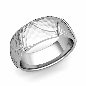 Harmony Comfort Fit Wedding Band in Platinum Hammered Finish Ring, 8mm