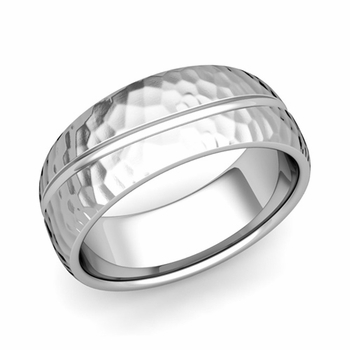 Wave Comfort Fit Wedding Band in Platinum Hammered Finish Ring, 8mm