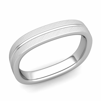 Square Wedding Ring in Platinum Brushed Finish Comfort Fit Wedding Band, 4mm