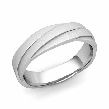 Past Present Future Wedding Band in Platinum Mixed Brushed Finish Ring, 5mm