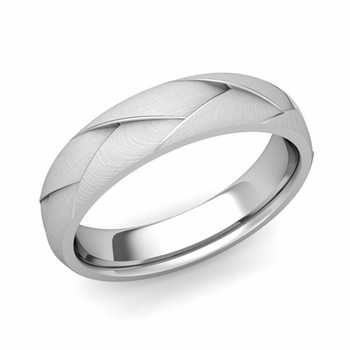 Love Folding Brushed Finish Wedding Ring in Platinum Comfort Fit Band, 5mm