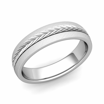 Garland Comfort Fit Wedding Band in Platinum Mixed Brushed Finish Ring, 5mm