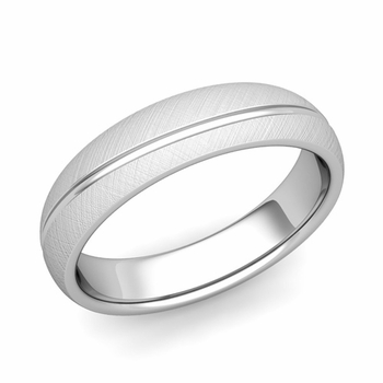 Wave Comfort Fit Wedding Band in Platinum Mixed Brushed Finish Ring, 5mm