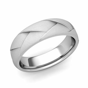 Love Folding Brushed Finish Wedding Ring in Platinum Comfort Fit Band, 6mm