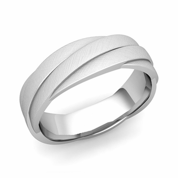 Past Present Future Wedding Band in Platinum Mixed Brushed Finish Ring, 6mm