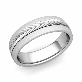 Garland Comfort Fit Wedding Band in Platinum Mixed Brushed Finish Ring, 6mm