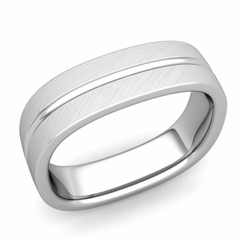 Square Wedding Ring in Platinum Brushed Finish Comfort Fit Wedding Band, 6mm