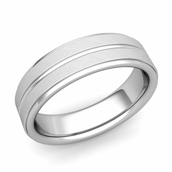 Comfort Fit Park Avenue Wedding Band in Platinum Brushed Finish Ring, 6mm