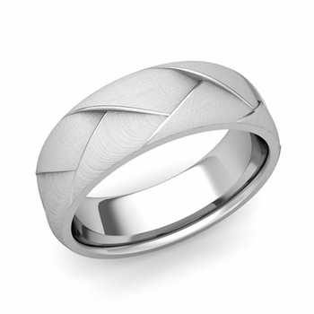 Love Folding Brushed Finish Wedding Ring in Platinum Comfort Fit Band, 7mm