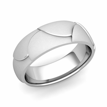 Harmony Comfort Fit Wedding Band in Platinum Mixed Brushed Finish Ring, 7mm